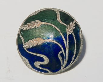Lovely Enamel On Silver Art Nouveau Wheat Button