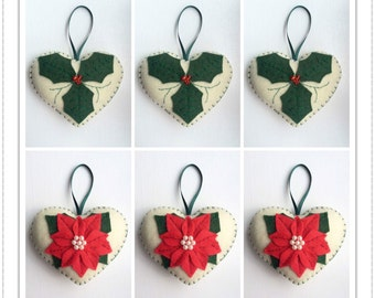 Felt Christmas Decorations -  Holly Hearts/Poinsettia Hearts - Set Of 6