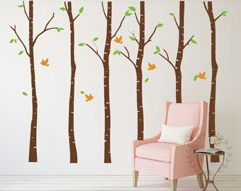 Birch tree wall decals Tree birds wall sticker Large birch forest wall mural Nature wall decal Birch forest wall sticker Tree wall decal-6
