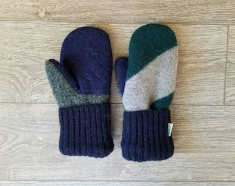 Blue and Green Sweater Mittens //LoveWoolies Mittens //Fleece Lined