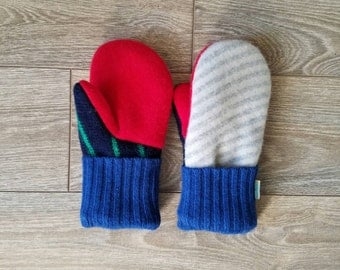 Gray Stripes and Red Sweater Mittens //LoveWoolies Mittens //Fleece Lined