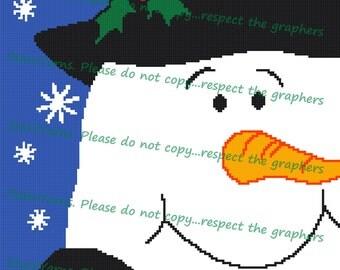 Snowman Crochet Graph Blanket Pattern