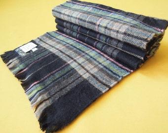 "Barneys New York Scarf Acrylic Plaid Pattern Brown Checkered Vintage Muffler Foulard Shawl Wrap Made In France 56"" X 10.5"""