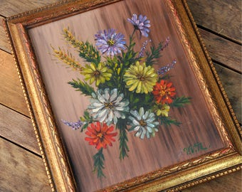 Vintage 1970's Floral Original Oil Painting on Canvas in gold leaf frame, signed fine art. Mid century wall art great retro feel!
