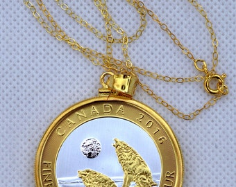 New 24k Gold plated sterling silver necklace + coin holder pendant + Canadian wolf fine silver coin special gilded, excellent gift idea