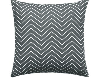 Dark Grey Pillow Covers, Grey Decorative Pillows, Grey Chevron Pillow, Grey Throw Pillow Covers, Grey and White Zippered Accent Pillow Case