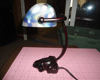 Desk Lamp, Lighting, Table Lamp, Tiffany Style, Glass Globe, Desk Light, Vintage Light, Victorian Lamp, Crafting light, Shabby Chic Decor