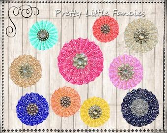 10 Digital Glitter Rosettes Jewel Clipart Digital Elements Sparkle Rosette Clip Art