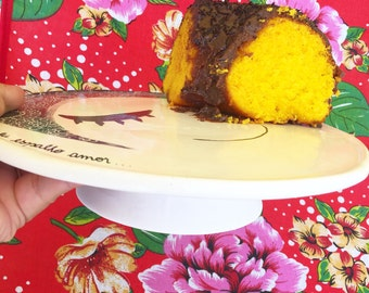 Ceramic cake plate - Handmade Ceramic tall plate- cheese plate-Ceramics and Pottery-wattle flower