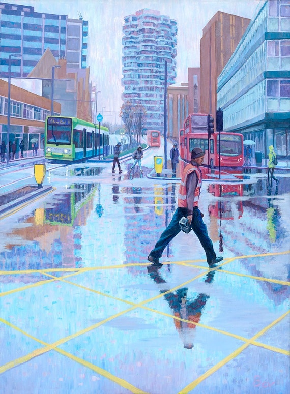 """Moving Through Print 16 X 20"""" of People, Trams and Buses on a Rainy Day in Croydon"""