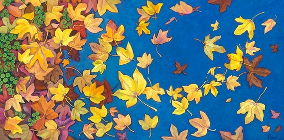 Star Strewn, original painting in acrylic of autumn leaves blown across a pavement