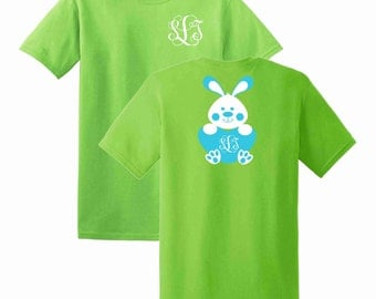 Easter Bunny Boy Heart Monogrammed T-shirt