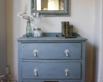 Pretty Vintage 2-Drawer Dresser in Powder Blue with White Detailing