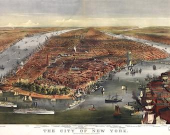 New York Vintage Map Art Print, Manhattan, NEW YORK