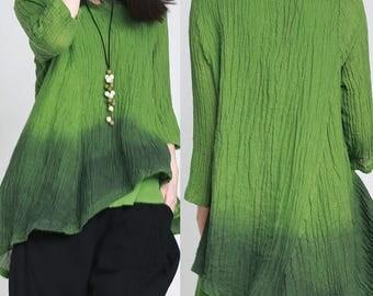 women linen tops/women vintage blouses/women linen blouses/women loose tops/women green blouses/women vintage clothing/TZ03T0213