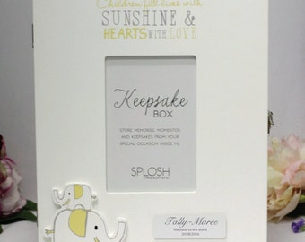 Personalised Baby Keepsake Box -Yellow Elephant