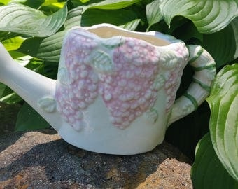 CLEARANCE.....Porcelain Watering Can  Planter, Made In Cap Haitie (B)