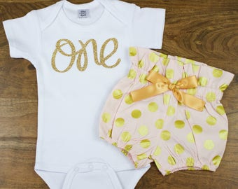 Pink & Gold Polka Dot First Birthday Bloomer Outfit | 1st Birthday Bloomer Outfit | Girls 1st Birthday Outfit Pink and Gold ONE