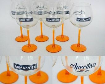 Rare Vintage Set of 6 Ramazzotti Aperitivo Glasses - Made in Italy