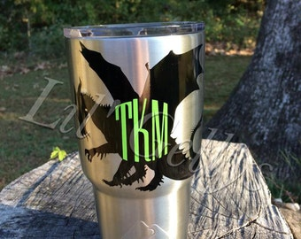Yeti decal,yeti tumbler,yeti 20 oz,yeti 30 oz,yeti rambler decal,dragon decal,monogram decal,yeti cup,yeti custom decal,yeti colster decal,