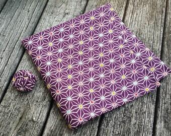 Asanoha Purple Pocket Square - Abstract Pocket Square - Star Pocket Square - Gift for Men - Purple Lapel Flower - Formal Pocket Square