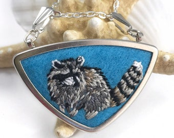 Raccoon Jewelry, Raccoon Necklace, Animal Jewelry, Embroidery Necklace, Woodland Necklace, Forest Jewelry, Gift for Nature Lover