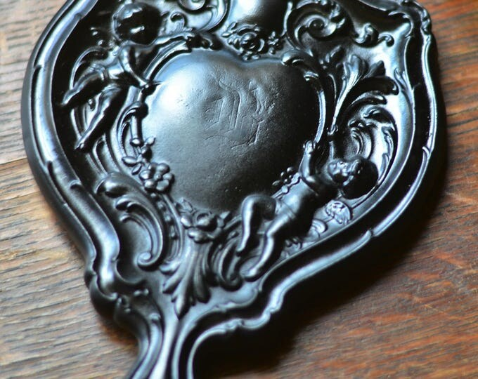 ANGEL OBSIDIAN MIRROR, scrying mirror, cupids, cherubs, rose quartz, rose petals, scrying mirror for divination, black mirror, scrying