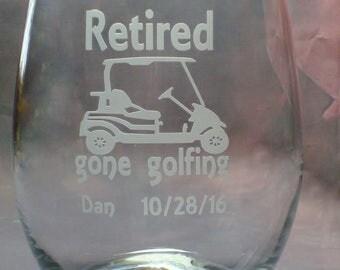 Retirement Gifts   Retired Gifts for Retirement Co Worker Gift   Golf Cart Gone Golfing   21 oz. Stem Less Wine Glass   Golfing Retirement