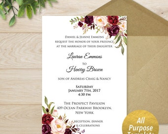 All Purpose Burgundy Floral Template, Printable Bridal Shower Baby Shower Birthday Wedding Invitation Template, DIY PDF Download #101