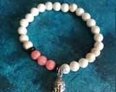 Coral and White Stack Bracelet, Charm Bracelet, Beaded Charm Bracelet, White Beaded Bracelet, Buddha Bracelet, Beaded Bracelets for Women