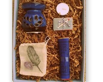 Meditation Kit // Gift // Tibetan Prayer Flags // Essential Oil Warmer // Matchbox+tealight // Amethyst Crystal+Feather Stamped Muslin Bag