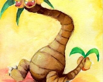 """Alonlan Exeggutor Watercolor - PRINT - 7""""x5"""" - 10""""x8"""""""