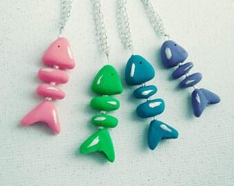 Fish Bones Charm Necklace