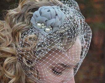 Grey Birdcage Veil | Flower Fascinator | Wedding Headpiece | Wedding Birdcage Veil | Blusher | Wedding Veil | Birdcage Veil