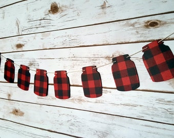 Buffalo Plaid Mason Jar Garland (Plain, winter shapes, or Christmas shapes)