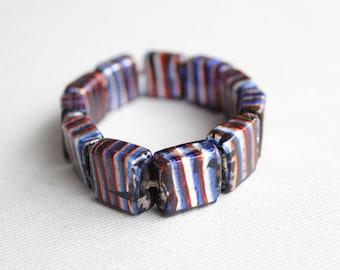 1960's Glass Beads Bracelet - 60's Blue Glass Bracelet