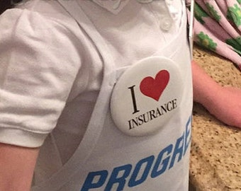 Child 4 item Flo Progressive Insurance Apron, Name Badge + Pin attached WITH / WITHOUT pins! Won't prick or fall off. Flo made in the USA!