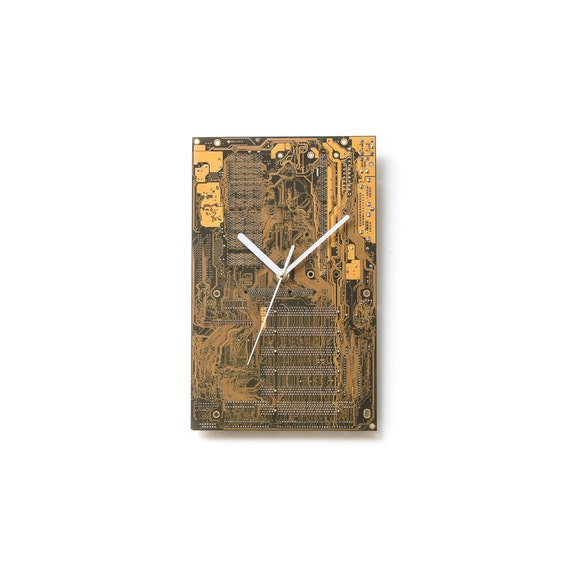 Circuit Board Clock, Dark Yellow Large Wall Clock, Unique Wall Clock, Unique Gift, Boyfriend Gift, Husband Gift, Boyfriend Gift, Tech Gift