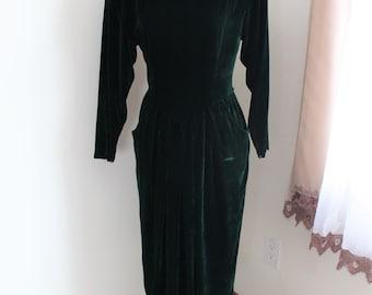 1980s Dark Green Silk Velvet Dress Maggy London by Jeannene Booher Size 8 Long Sleeves Forest Green