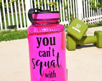 Funny Water Bottle // Mean Girls // You can't squat with us // You can't sit with us // Gym bottle for her // Friend gift under 15