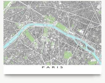 Paris Map, Paris Art Print, Map of Paris France, Europe City Maps
