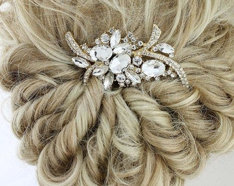 Bridal Hair Comb, Gold Wedding Hair Accessory, Bridal Hair Piece, Gold Hair Jewelry, Gold Veil Comb, Side Hair Comb, Glam Wedding