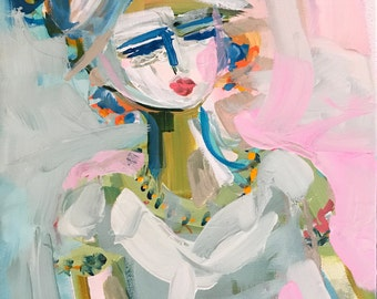 Abstract Figure PRINT, 5x7, 8x10, 11x14, 16x20, 24x30 Girl in Dress, woman art, canvas or paper