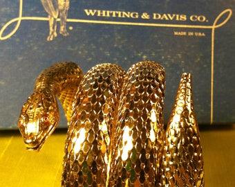 1963 Vintage Whiting & Davis 3 Coil Goldtone  Snake Bracelet