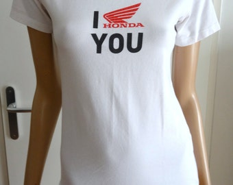 t-shirt femme HONDA blanc taille M / collector / I HONDA YOU/motard/moto