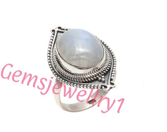 925 Sterling Silver Rainbow Moonstone Ring In All Us Size 7 8 9 10 Gift Present Idea  2010
