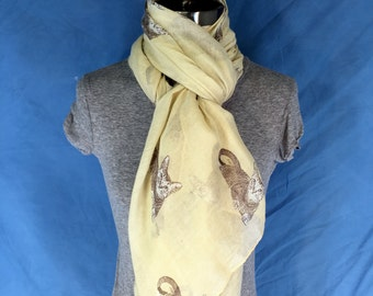 Womens Scarf Tan Cats -Free Shipping! Long Scarf. Large Scarf. Spring Scarf. Women Fashion Accessories. Gift Ideas For Her. Holiday Gift.