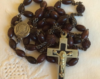 Vintage 1910s Wooden Rosary with Crown of Thorns