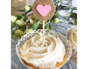 Set of 12 - Pink and Gold Glitter Hearts Cupcake Toppers / Bridal Shower / Birthday / Party Picks
