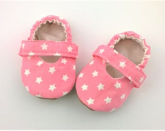 Baby girl Mary Janes-soft strap-elastic strap-vegan shoes-baby girl slippers-star slippers-pink shoes-first walker shoes-